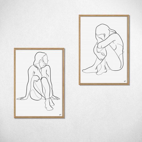 Minimalistisk siddende kvinde