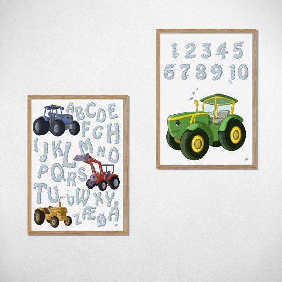 traktor lærings plakat sæt